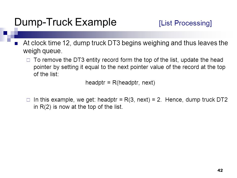 Dump-Truck Example [List Processing]